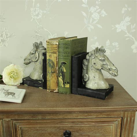 horse head bookends bookcase library shelf sitter shabby
