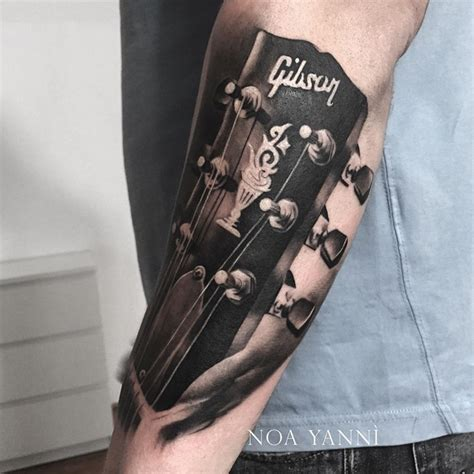 guitar neck tattoo designs gibson guitar best design ideas