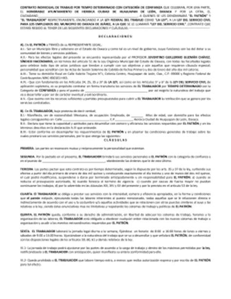Carta De Trabajo Individual by Modelo De Contrato Individual De Trabajo Por Tiempo