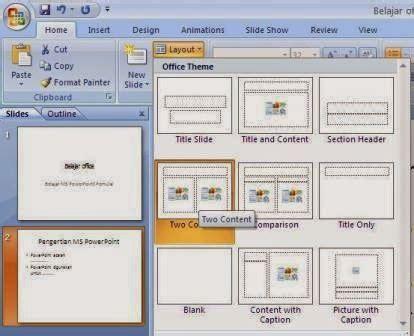 fungsi layout dalam powerpoint belajar menambahkan slide baru dan cara mengganti layout