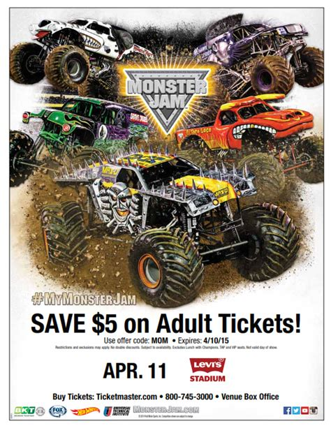 monster truck jam discount code watch out for monster jam at levi s stadium my charmed mom