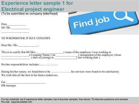 Work Experience Letter Electrician Electrical Project Engineer Experience Letter