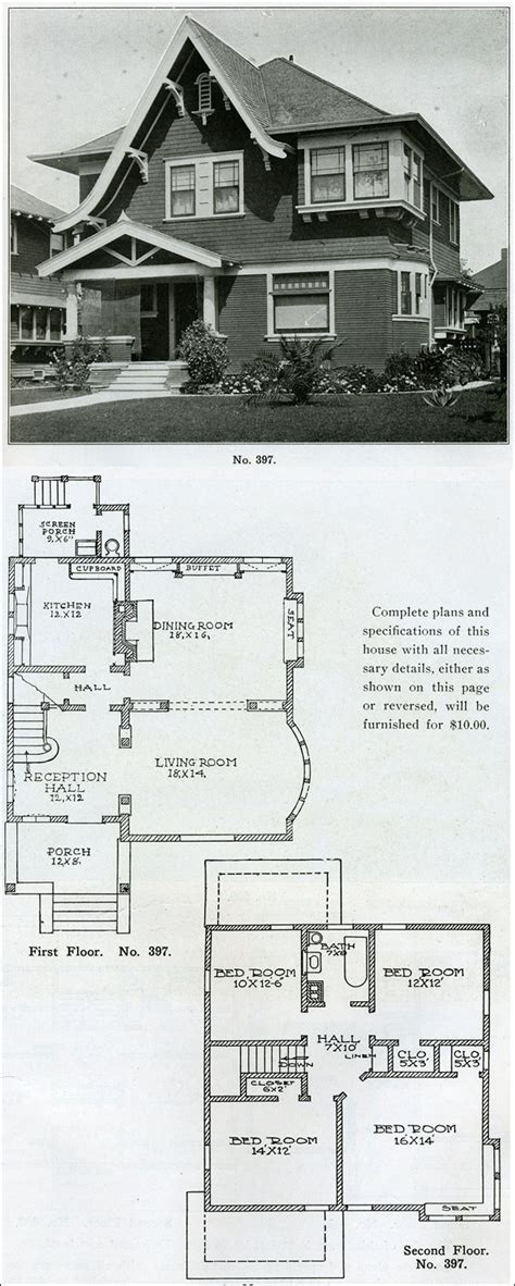 1910 house plans 1910 early foursquare eclectic design no 397 two