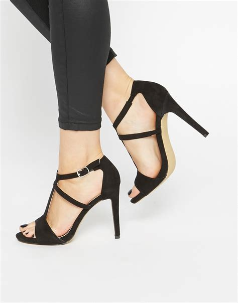 Heels T In Black By warehouse t bar heeled sandals black in black lyst