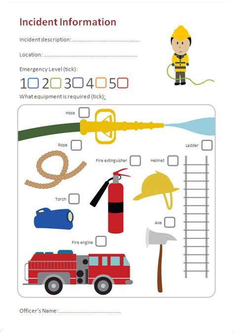 Fire Station Role Play Incident Form (EYFS, KS1)   Free