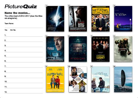 film quiz round quiz number 072 with a name the movies picture round