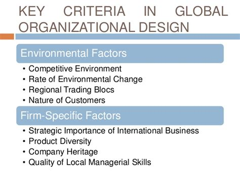 design criteria definition global organization and control