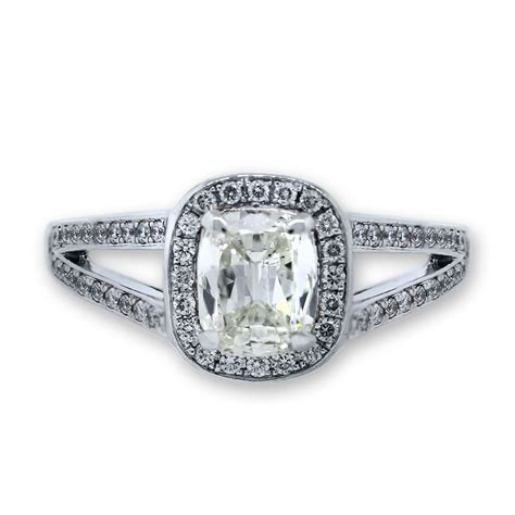 18k white gold cushion cut split shank engagement ring