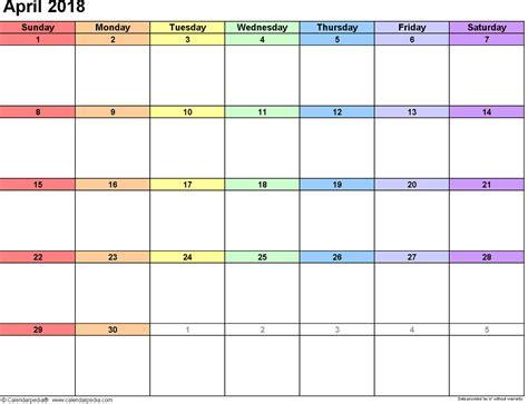 download april 2018 calendar printable templates webelator free