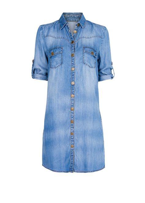 Denim Blouse mango denim shirt dress in blue denim mid wash lyst