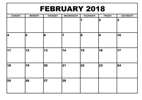 February 2018 Calendar Printable Template Pdf With Holidays Usa Uk Writable Calendar Template