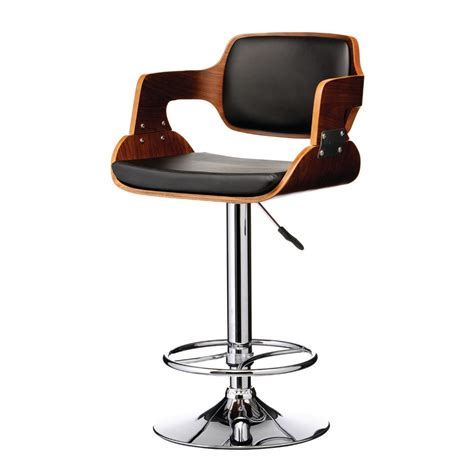 bar stools wood and leather buy walnut wood and black faux leather retro bar stool