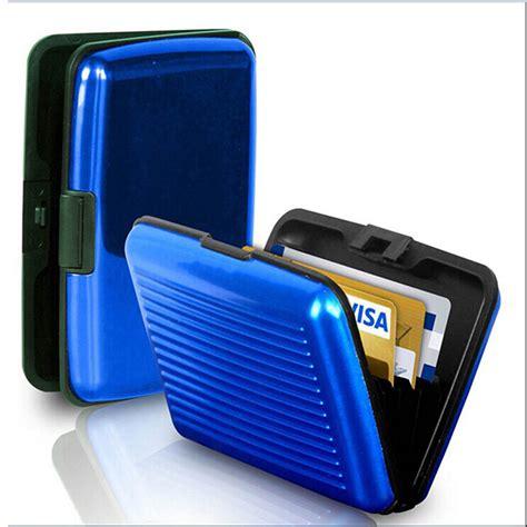 men s mini wallet aluminum metal case business id credit