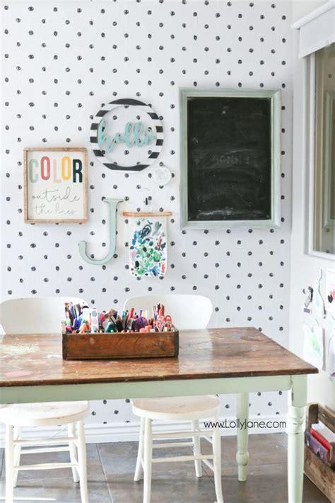 wallpaper for craft room wallpaper craft room makeover lolly jane