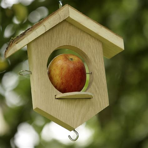Apple Bird Feeder bird feeder with rustic roof garden bird feeder