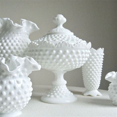 vintage hobnail milk glass footed candy dish by fenton