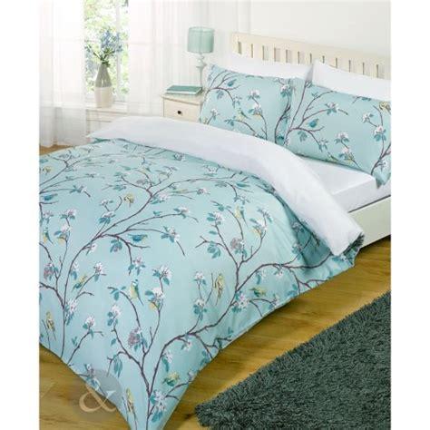 White And Teal Duvet Cover Shabby Chic Bird Tree Bed Set White Teal Blue Duvet