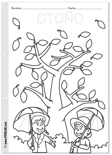 actividades de otono para preescolares ficha para colorear del oto 241 o las estaciones desde pipo