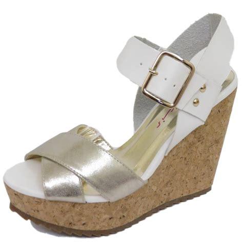 dolcis white silver cork wedges platform sandals