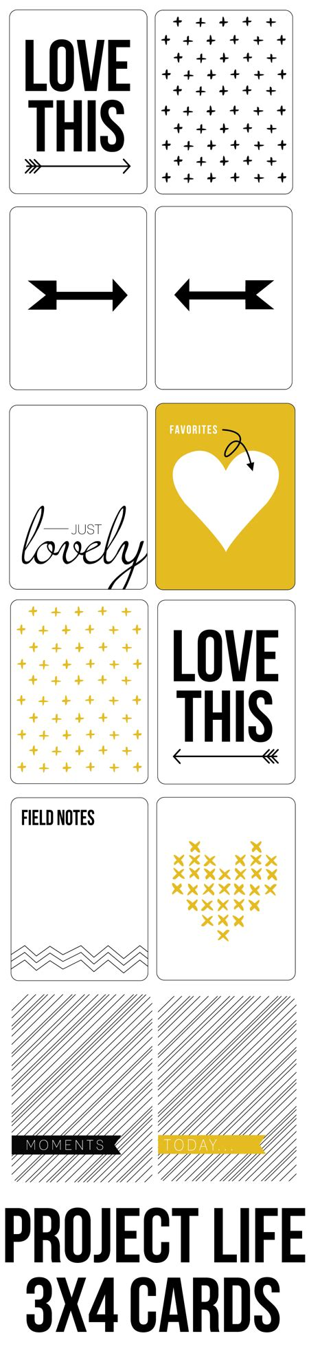 3x4 note card template free yellow black project cards fab n free