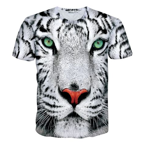 Tshirt White Tiger white tiger t shirt leopard 3d crewneck print t shirt summer style fashion