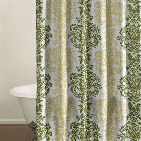 green damask curtains green and yellow damask shower curtain patterns pinterest