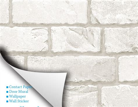 stick on wall paper white grey brick contact paper peel stick wallpaper
