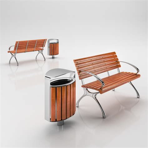 bench can classic wood park bench with matched trash 3d model
