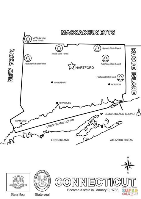 connecticut map coloring page map of connecticut coloring page free printable coloring