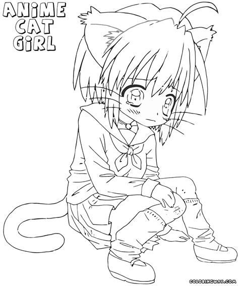 anime cat coloring pages coloring pages to download and