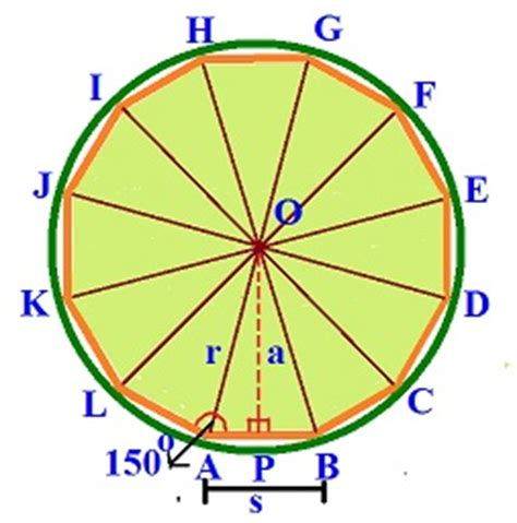 Dodecagon Interior Angles by Area Of A Dodecagon Area Of A Dodecagon Exles