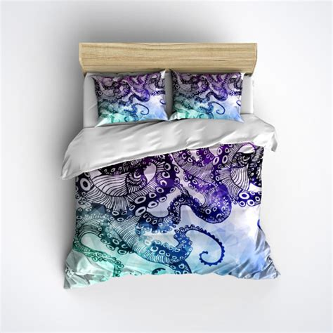watercolor bedding fleece octopus bedding large modern watercolor by inkandrags