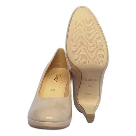 modern slippers gabor shoes splendid court shoe in sand patent