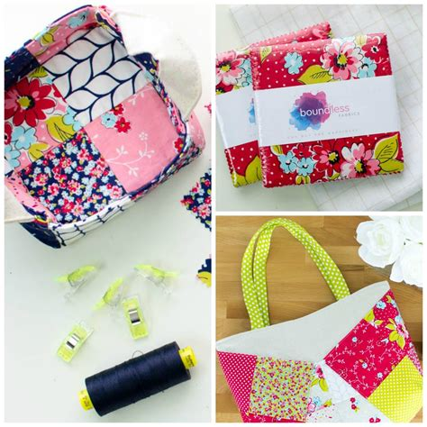 Three More Inspiring Patchwork Projects Sewcanshe Free - patchwork bags baskets with flower shoppe pre cut fabric