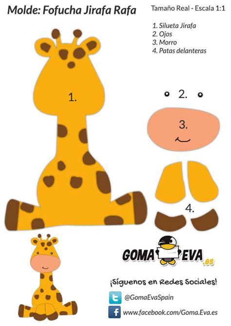 moldes de animales de la selva en goma eva ya puades descargar el molde gratis de la fofucha jirafa