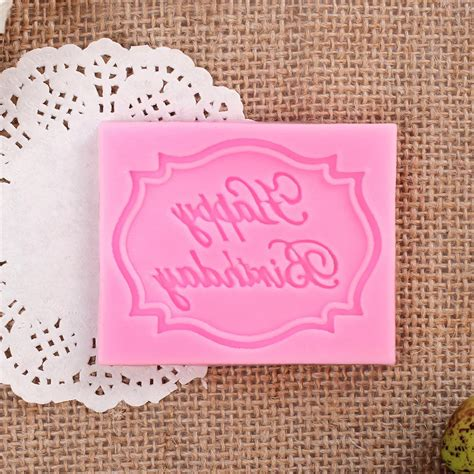 Impression Mat For Cakes by Happy Birthday Silicone Mould Cake Decorating Lace