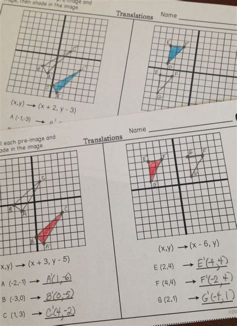 Geometry G Rotations Worksheet 1 by Reflections Worksheet 1 Geometry G Answers Geometry