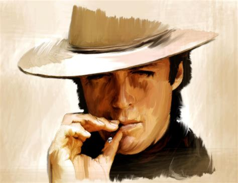 paint man man with no name clint eastwwod painting by iconic images