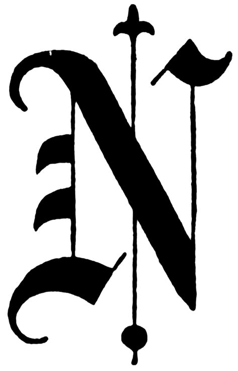 N, Old English title text | ClipArt ETC