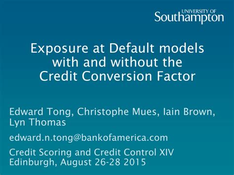 Formula Credit Default Exposure At Default Models With And Without The Credit Conversion Factor Pdf Available