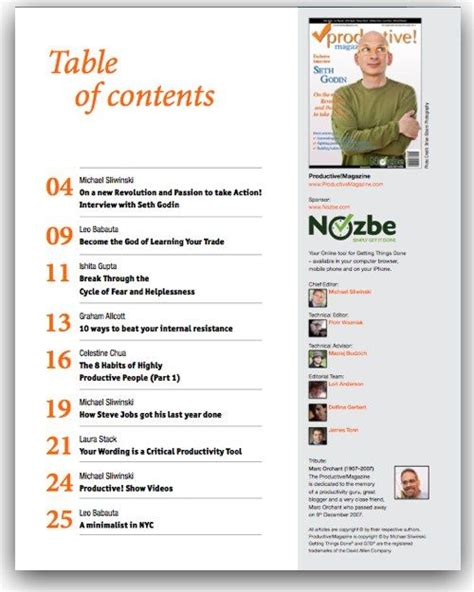 presentation table of contents template table of content