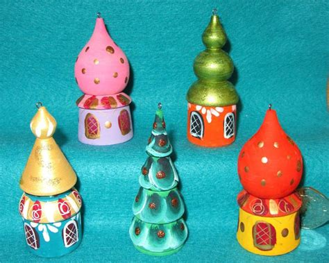 russian hand painted matt set 5 christmas tree ornaments