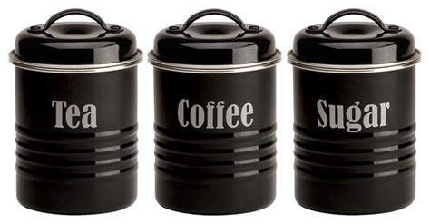 typhoon vintage black tea coffee and sugar canister set