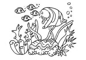 group of fish in coral reef sea coloring pages kids play color 18560 sketch template