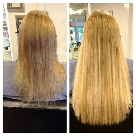 thin hair extensions before and after before and after longer and thicker hair with di biase