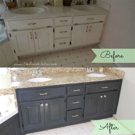 before and after of bathroom vanity makeover by the