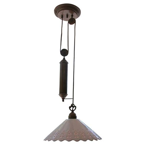 Pulley Pendant Light Fixture Il Fanale Single Pendant Light Fixture With Brass Pulley At 1stdibs