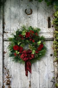 wreath on barn door christmas pinterest