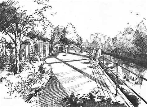Landscape Architecture Perspective Richard Marshart Canal Side Landscape Project