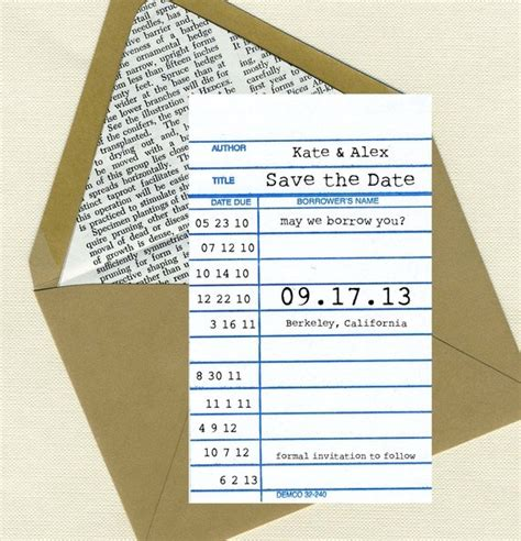 the wedding date books library card save the date emmaline